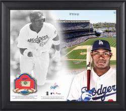 "Yasiel Puig Los Angeles Dodgers Framed 15"" x 17"" Mosaic Collage with Game-Used Baseball-Limited Edition of 250"