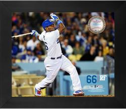 Yasiel Puig Los Angeles Dodgers Framed 20'' x 24'' Gamebreaker Photograph with Game-Used Ball - Mounted Memories