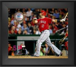 """Albert Pujols Los Angeles Angels of Anaheim Framed 20"""" x 24"""" Gamebreaker Photograph with Game-Used Ball"""
