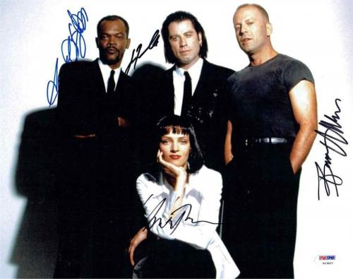 Pulp Fiction Travolta Thurman Jackson Willis Signed 11x14 Photo PSA/DNA LOA