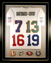 Deluxe Framed with Suede Mat Autographed Quarterbacks of the Century Jersey Deluxe