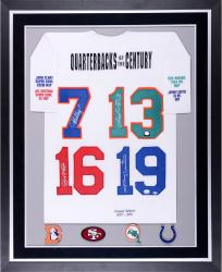 Joe Montana, John Elway, Dan Marino, & Johnny Unitas Quarterbacks of the Century Autographed Deluxe Framed Stats Jersey