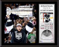 Jonathan Quick Los Angeles Kings 2014 Stanley Cup Champions Sublimated 12'' x 15'' Plaque with Game-Used Ice-Limited Edition of 250 - Mounted Memories