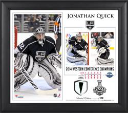 "Jonathan Quick Los Angeles Kings 2014 NHL Western Conference Champions 15"" x 17"" Collage with Game-Used Puck-Limited Edition of 250"