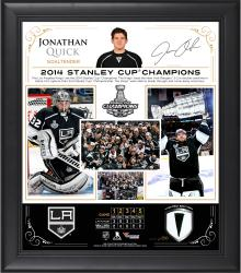 Jonathan Quick Los Angeles Kings 2014 Stanley Cup Champions Framed 15'' x 17'' Collage with Game-Used Puck-Limited Edition of 250 - Mounted Memories