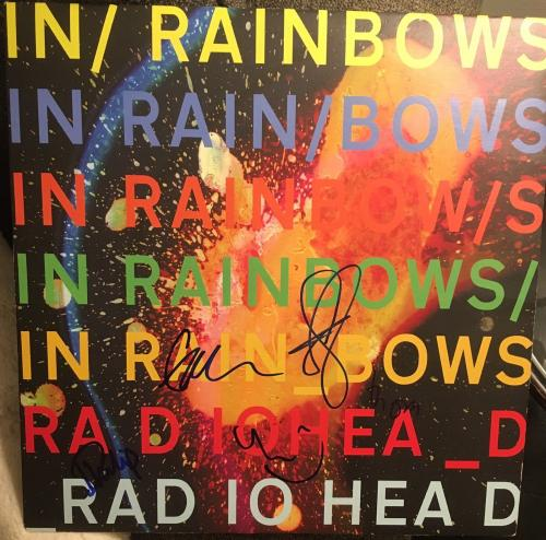 "Radiohead Full Band Signed Mint Autograph ""in Rainbows"" Album Vinyl Yorke +5"