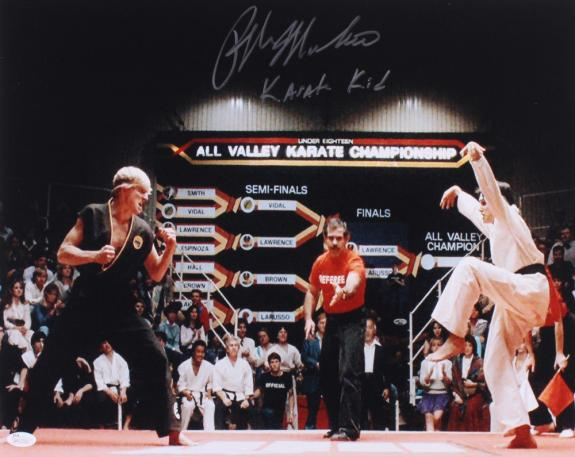 RALPH MACCHIO AUTOGRAPHED 16x20 COLOR PHOTO (THE KARATE KID) - JSA COA!