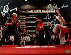 "Ralph Macchio & Billy Zabka Signed Karate Kid 11x14 Iconic Photo with ""Karate Kid & Johnny"" Inscription"