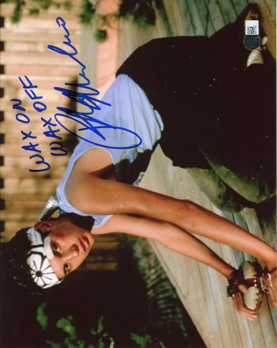 "Ralph Macchio Karate Kid Autographed 8"" x 10"" Photograph with Wax on Wax off Inscription - SMI"