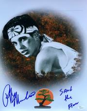 Ralph Macchio Karate Kid (Sand The Floor) Signed 11x14 Photo JSA