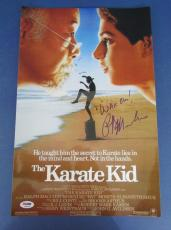 """Ralph Macchio Karate Kid Signed/Inscribed """"Wax On!"""" Movie Poster PSA/DNA X86328"""