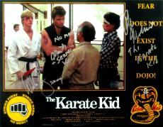 "Ralph Macchio, Martin Kove & Billy Zabka Signed Karate Kid 11x14 Iconic Photo with ""Karate Kid, Sensei & Johnny"" Inscription"
