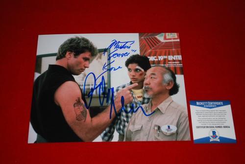 RALPH MACCHIO MARTIN KOVE sensei karate kid signed BECKETT 8x10