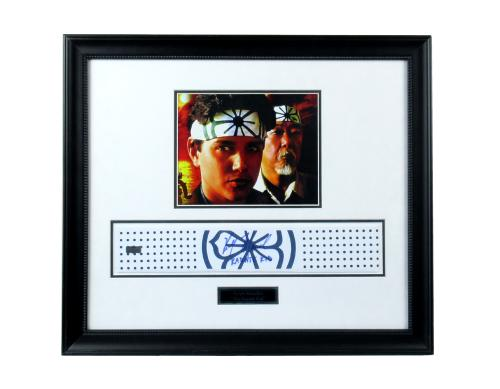 "Ralph Macchio Signed Framed 23x21 Authentic Floral Pattern Headband with ""Karate Kid"" Inscription"