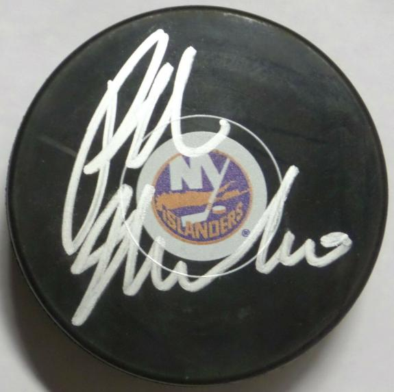 RALPH MACCHIO SIGNED NY ISLANDERS LOGO OFFICIAL NHL HOCKEY PUCK w/ STEINER CERT.