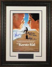 Ralph Macchio signed The Karate Kid 11x17 Movie Poster Leather Framed w/ Zabka & Kove (entertainment/movie memorabilia)