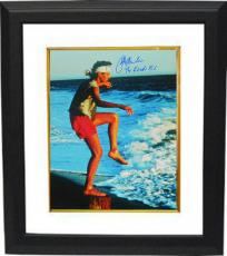 Ralph Macchio signed The Karate Kid Training on the Beach 16X20 Photo Custom Framed w/ The Karate Kid (Daniel LaRusso)