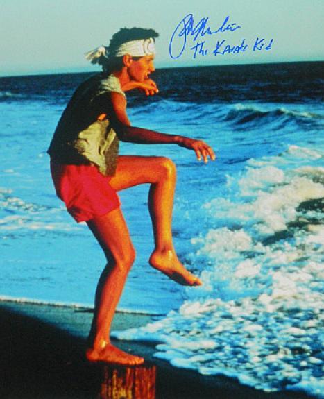 Ralph Macchio signed The Karate Kid Training on the Beach 16X20 Photo w/ The Karate Kid (Daniel LaRusso)