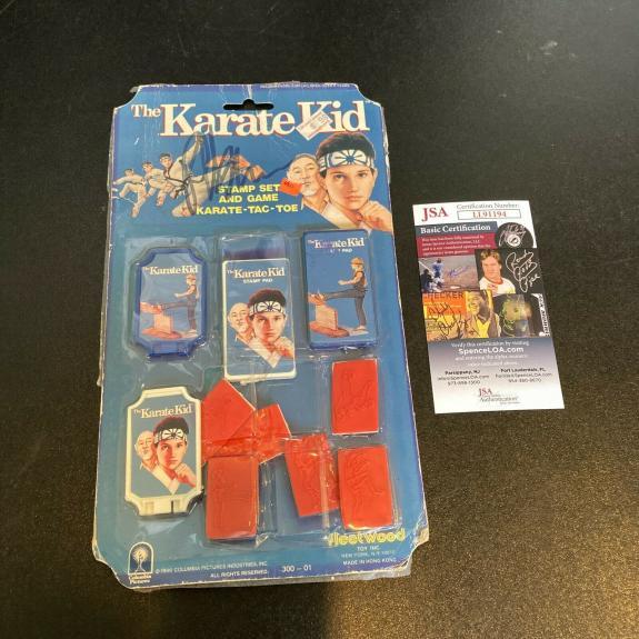 Ralph Macchio Signed Vintage 1986 Karate Kid Stamp Toy Set JSA COA