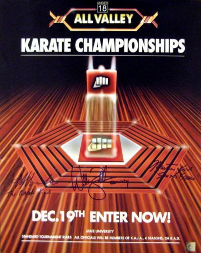 """Ralph Macchio """"The Karate Kid"""", William Zabka """"Johnny"""" & Martin Kove """"Sensei Kreese"""" Signed All Valley Tournament 16x20 Photo"""