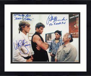 "Ralph Macchio ""The Karate Kid"", William Zabka ""Johnny"" & Martin Kove ""Sensei Kreese"" Signed Dojo 11x14 Photo"