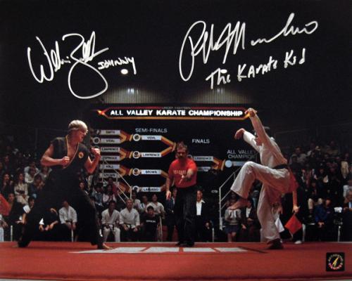 "Ralph Macchio ""The Karate Kid"" & William Zabka ""Johnny"" Signed Crane Kick 11x14 Photo"