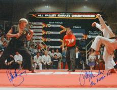 Ralph Macchio & William Zabka Dual Signed The Karate Kid Crane Pose Fight Stance 16x20 Photo w/The Karate Kid, Johnny