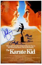 Ralph Macchio, William Zabka & Martin Kove Cast Signed The Karate Kid 11x17 Movie Poster w/Johnny, Sensei