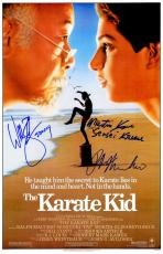 Ralph Macchio, William Zabka & Martin Kove Cast Signed The Karate Kid 11x17 Movie Poster w/Johnny, Sensei Kreese