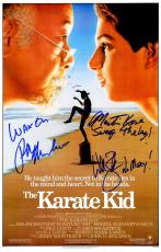 Ralph Macchio, William Zabka & Martin Kove Cast Signed The Karate Kid 11x17 Movie Poster w/Quotes