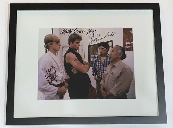 Ralph Macchio William Zabka Martin Kove Signed Framed 11x14 Photo Jsa Coa