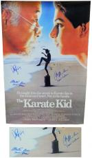 Ralph Macchio, William Zabka & Martin Kove Signed The Karate Kid 27x40 F/S Movie Poster w/Daniel Larusso, Johnny, Sensei Kreese