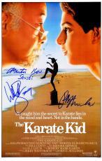 Ralph Macchio, William Zabka & Martin Kove Triple Signed The Karate Kid 11x17 Movie Poster w/Johnny, Sensei