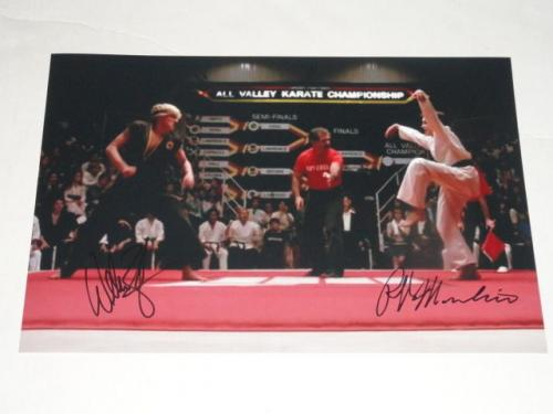 Ralph Macchio & William Zabka Signed The Karate Kid Crane Kick 11x17 Photo Proof