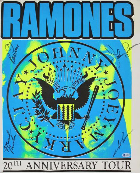 Ramones (4) Johnny, Marky, Joey & C.J. Signed 16x20 Tour Poster BAS #A78560