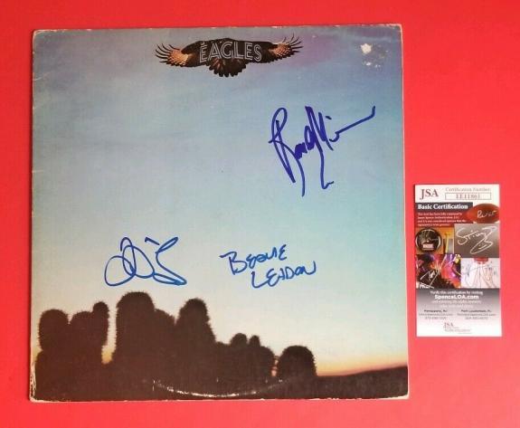 RANDY MEISNER, BERNIE LEADON & JD SOUTHER SIGNED EAGLES DEBUT ALBUM JSA COA psa
