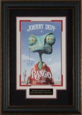 Rango signed 22X30 Masterprint Poster Leather Framed w/ Johnny Depp (movie/entertainment/photo)