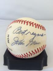 Rare 1980's John Glenn Nasa Astronaut Signed Autographed Nl Baseball Jsa Coa