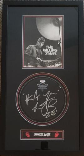 RARE-CHARLIE WATTS (Rolling Stones) signed drum head custom framed display- PSA