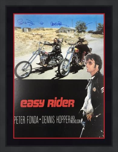 RARE-EASY RIDER signed/framed poster Signed by NICHOLSON/FONDA/HOPPER- JSA COA