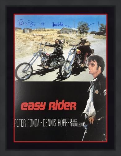 RARE-EASY RIDER signed/framed poster Signed by NICHOLSON/FONDA/HOPPER- JSA COA