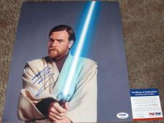 RARE! Ewan McGregor Signed STAR WARS 11x14 Photo PSA