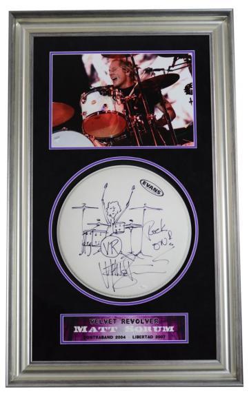 RARE-MATT SORUM (Velvet Revolver) signed framed drumhead w/drawing display-JSA