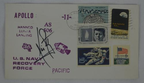 RARE Neil Armstrong Signed 1969 Apollo 11 First Day Cover FDC With JSA COA