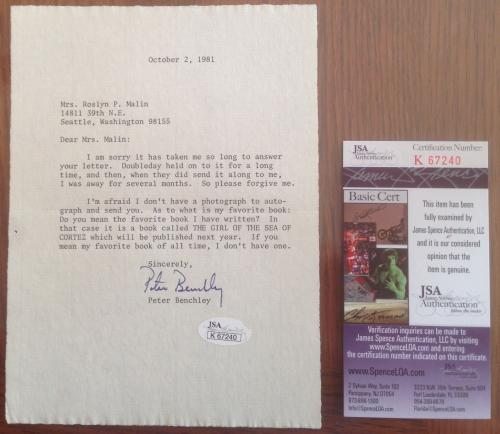 RARE- PETER BENCHLEY d.2006 (Jaws) signed Letter-Great content- JSA #K67240