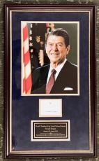 RARE President RONALD REAGAN d.2004 signed/framed display- JSA Letter
