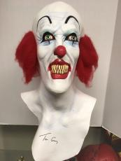 RARE- TIM CURRY Signed Pennywise Prop Mask Stephen King Horror Movie Film IT-COA