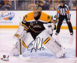 "Tuukka Rask Boston Bruins Autographed 8"" x 10"" Crouched In Net Photograph"
