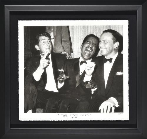 Rat Pack Limited Edition Fine Art Giclée. Frank Sinatra, Sammy Davis Jr. and Dean Martin Laughing. Framed 25×25