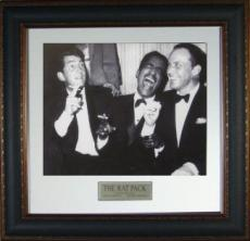 Rat Pack unsigned 11X14 Vintage B&W Photo Leather Framed w/ Frank Sinatra, Dean Martin & Sammy Davis, Jr (movie/entertainment)